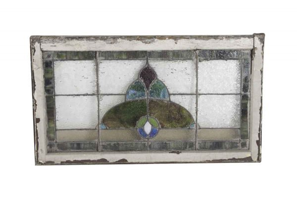 Stained Glass - Antique Textured & Slag Glass Transom Window 42 x 24