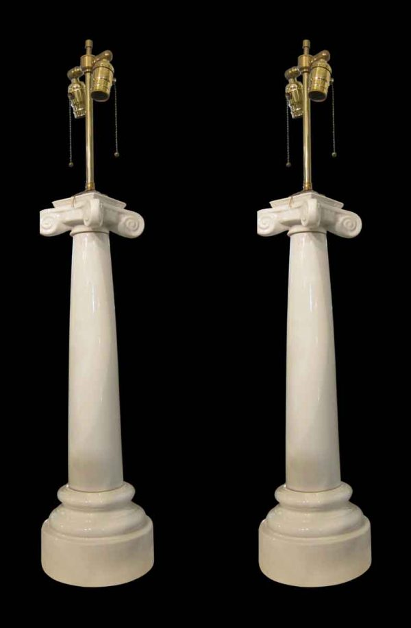 Table Lamps - 1910 Neo Classical Porcelain Column Table Lamps