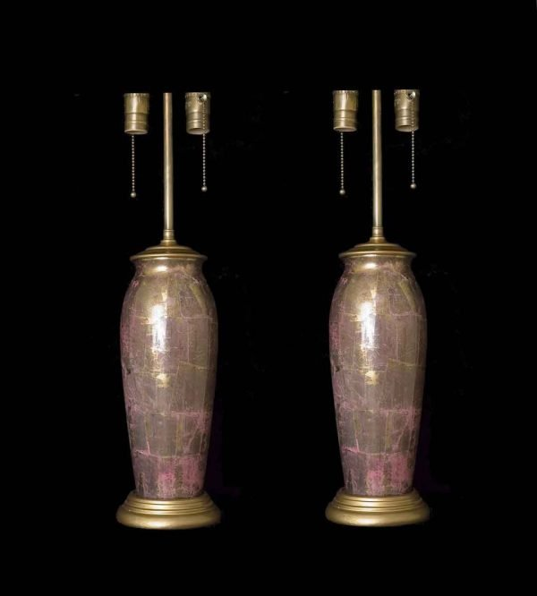 Table Lamps - 1930s Pair of French Glass Decoupage Table Lamps