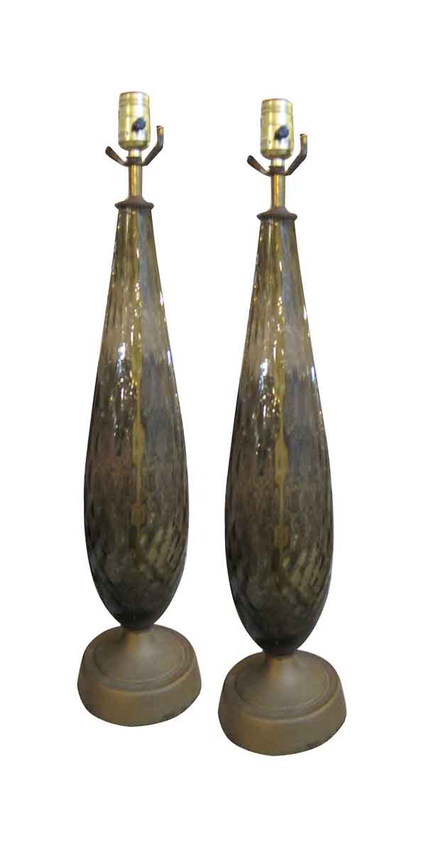 Table Lamps - 1940s Pair of Smoky Gray Murano Table Lamps