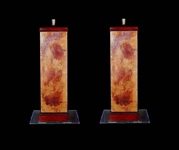 Table Lamps - 1950s French Copper & Gold Wooden Table Lamps