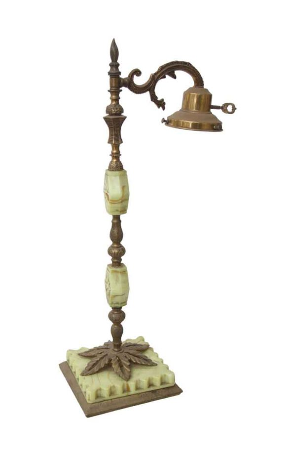 Table Lamps - Antique Light Green Floral Marble & Brass Table Lamp