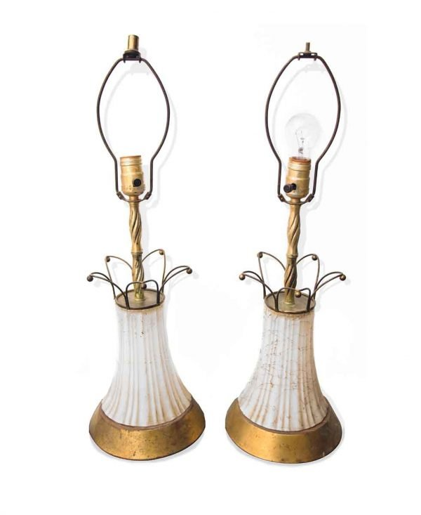 Table Lamps - Mid Century White Milk Glass & Brass Table Lamps