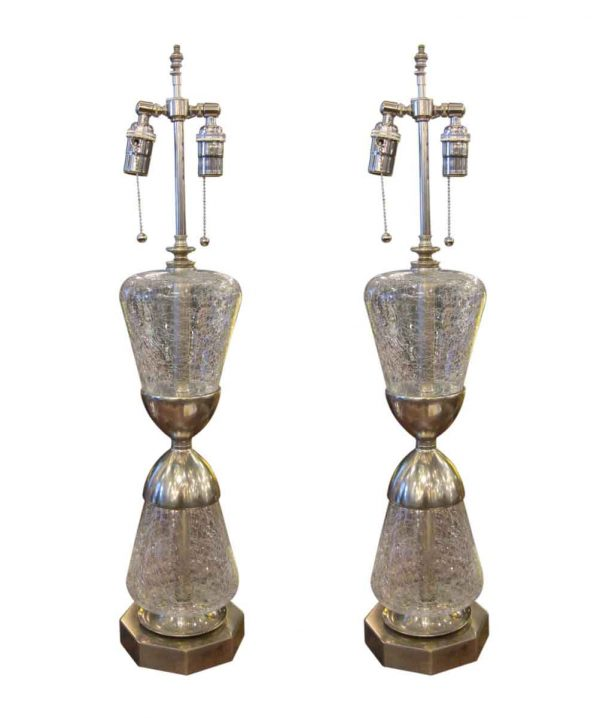 Table Lamps - Pair of 1950s Clear Crackled French Glass Table Lamps