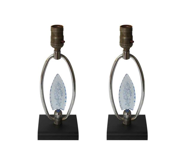 Table Lamps - Pair of Blue Floral Glass Vanity Table Lamps