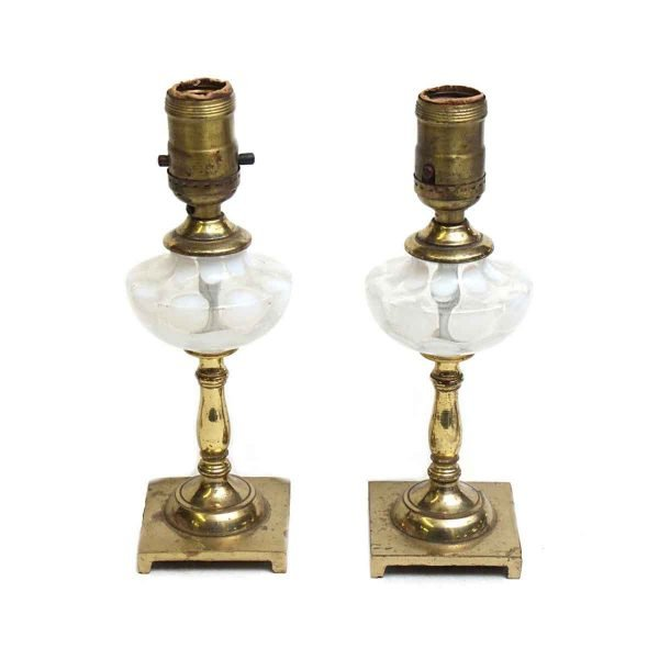 Table Lamps - Pair of Brass & Opalescent Glass Vanity Table Lamps