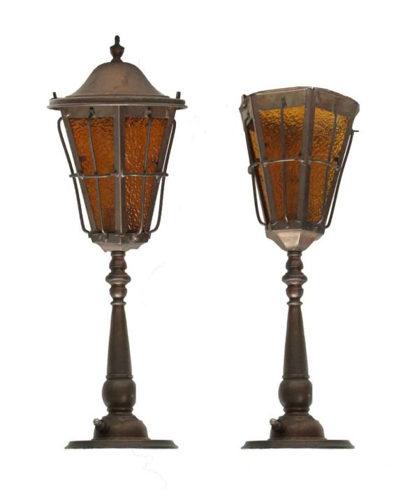 Table Lamps - Pair of Copper Table Lamps With Amber Glass