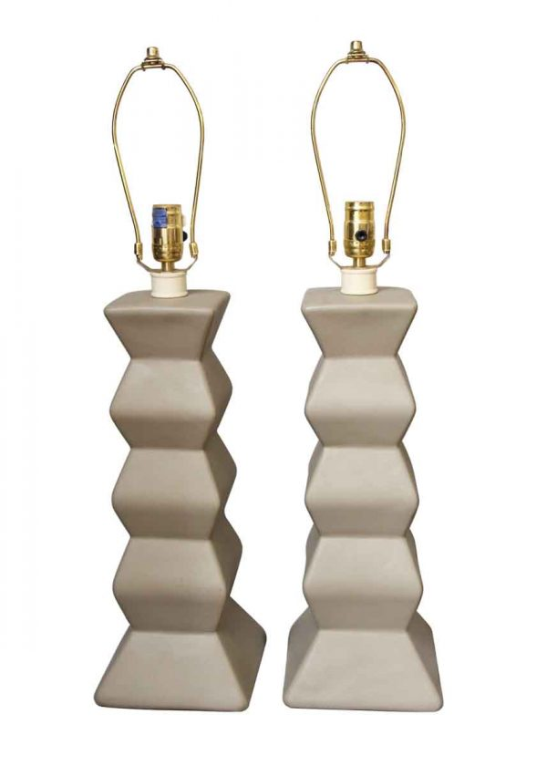 Table Lamps - Pair of Gray Modern Stacked Hexagon Table Lamps