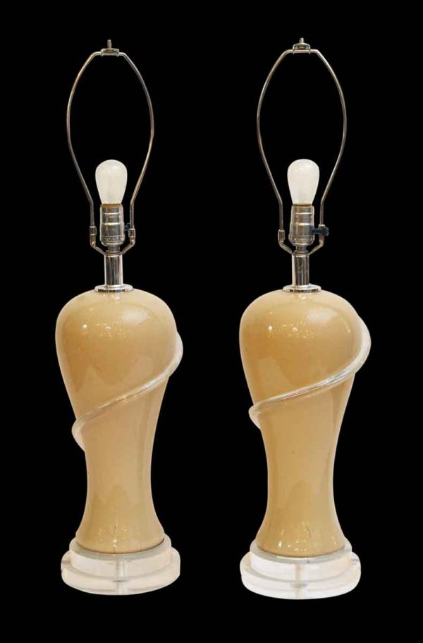 Table Lamps - Pair of Mid Century Modern Tan Glass Table Lamps