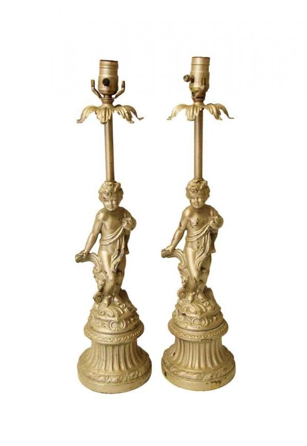 Table Lamps - Pair of Victorian Golden Cherubic Table Lamps