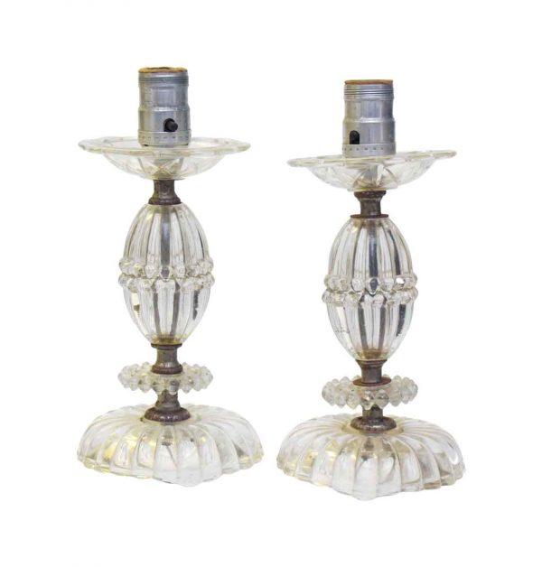 Table Lamps - Pair of Vintage Clear Glass Petite Table Lamps