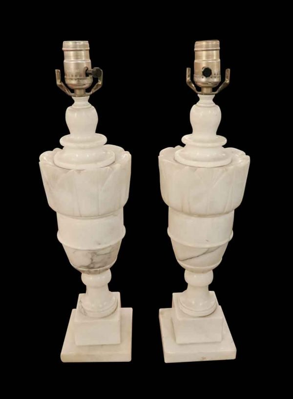 Table Lamps - Pair of White French Alabaster Table Lamps