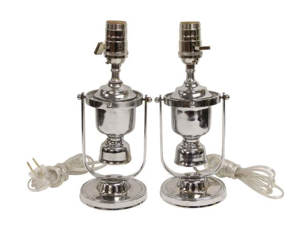 Table Lamps - Vintage Chrome Pair of Nautical Yacht Sconces or Table Lamps