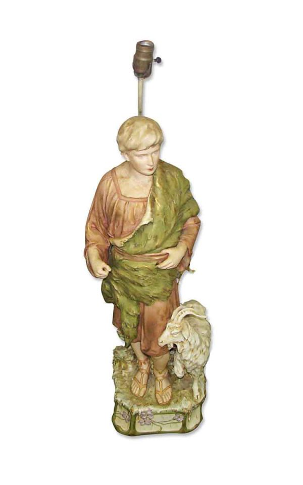 Table Lamps - Vintage Shepherd Statue Table Lamp