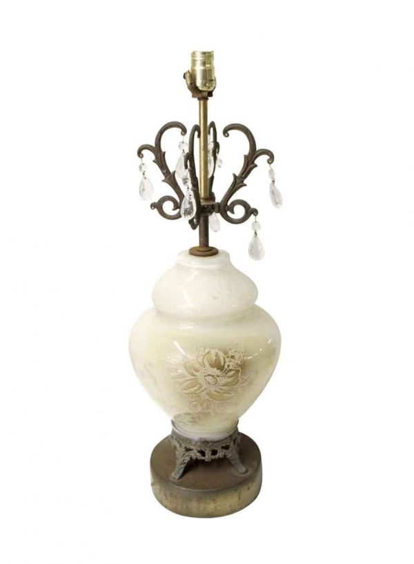 Table Lamps - Vintage White Floral Crystal & Glass Table Lamp