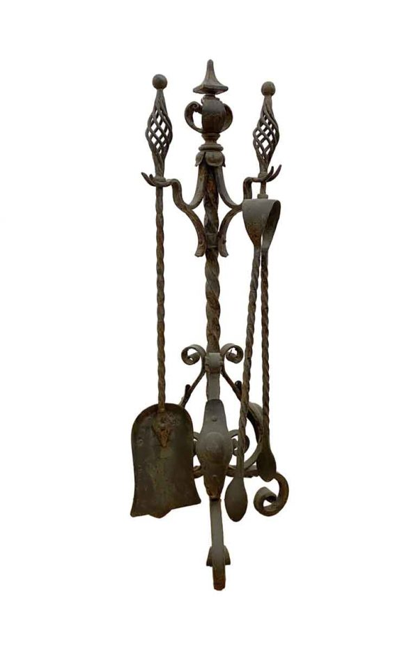 Tool Sets - Antique Wrought Iron Fire Place Tool Set