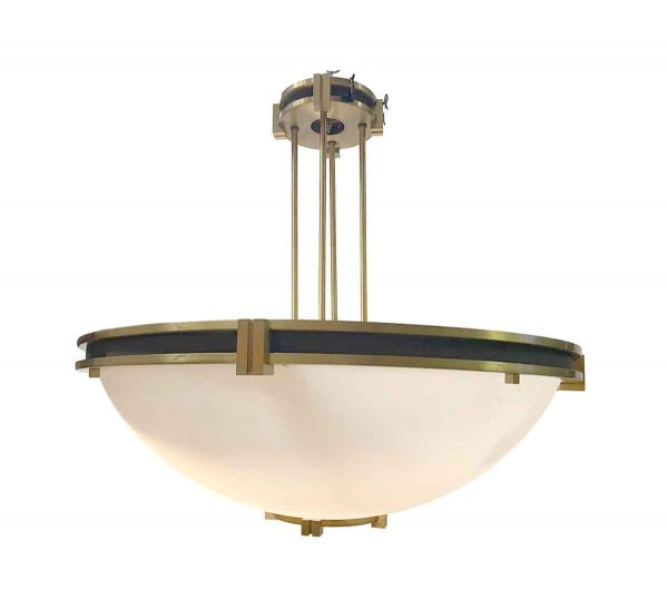 Up Lights - Large Mid to Late Century Brass Bank Dish Pendant Light