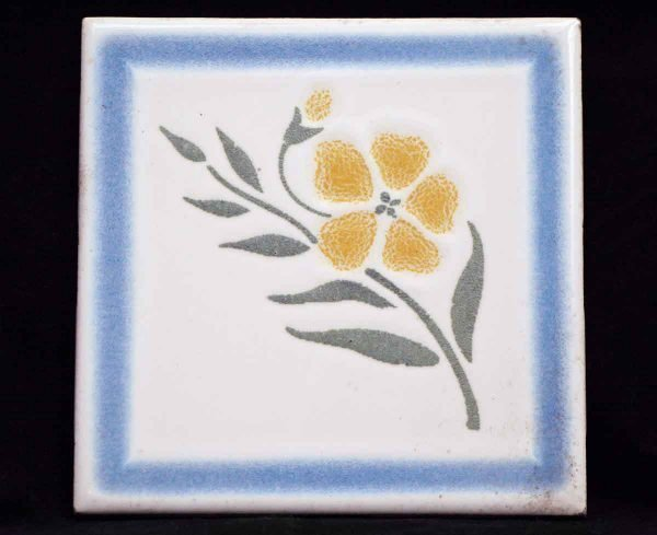 Wall Tiles - Antique Blue & White Yellow Flower Wall Tile 4.25 x 4.25