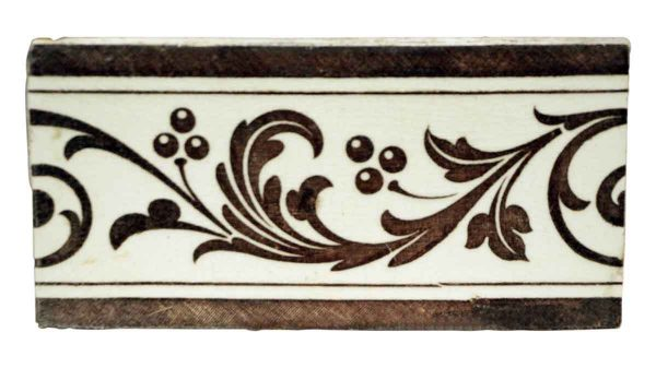 Wall Tiles - Antique Brown & Off White Floral Border Wall Tile 6 x 3