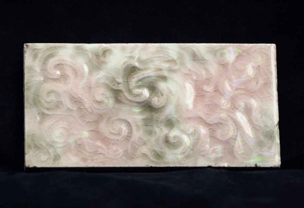 Wall Tiles - Vintage Ceramic Green & Pink Wall Tile 4.25 x 2.25