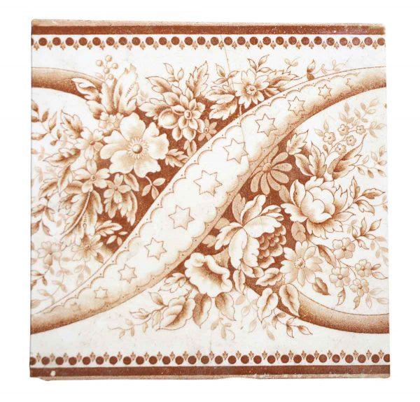 Wall Tiles - Vintage White & Brown Stars Floral Wall Tiles 5.875 x 5.875