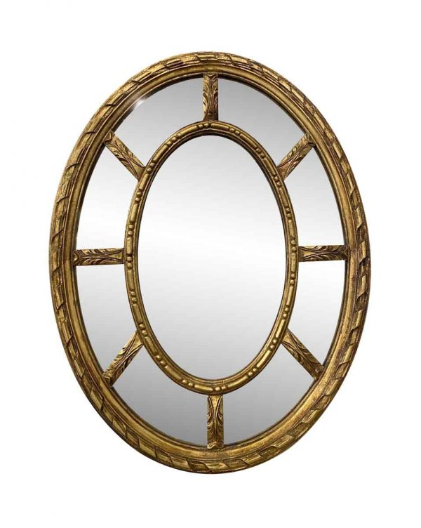 Antique Mirrors - Antique French Gilded Oval Wall Mirror