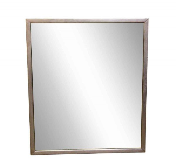 Antique Mirrors - Vintage Brushed Nickel Framed Wall Mirror 42 x 36
