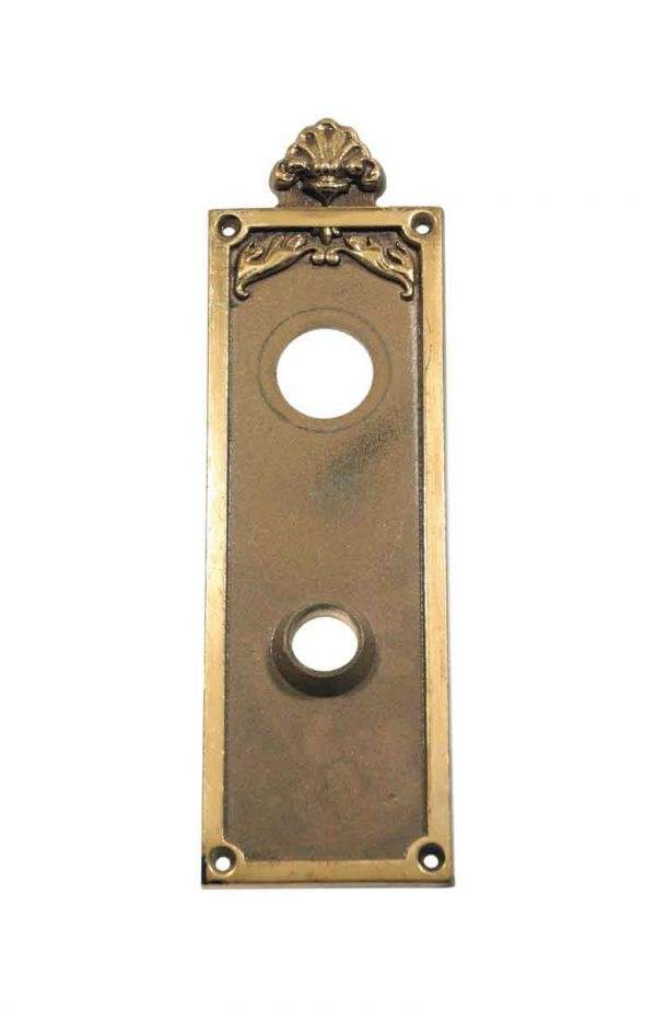 Back Plates - 10.125 in. Salvaged Plaza Hotel Cast Brass Door Plate