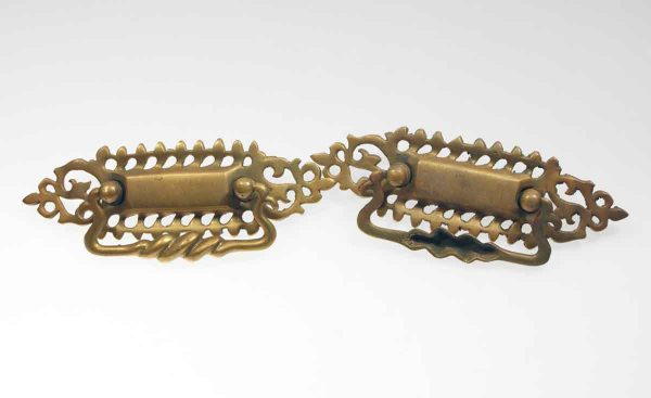 Cabinet & Furniture Pulls - Pair of Traditional Cut Out Swirl Brass Bail Pulls