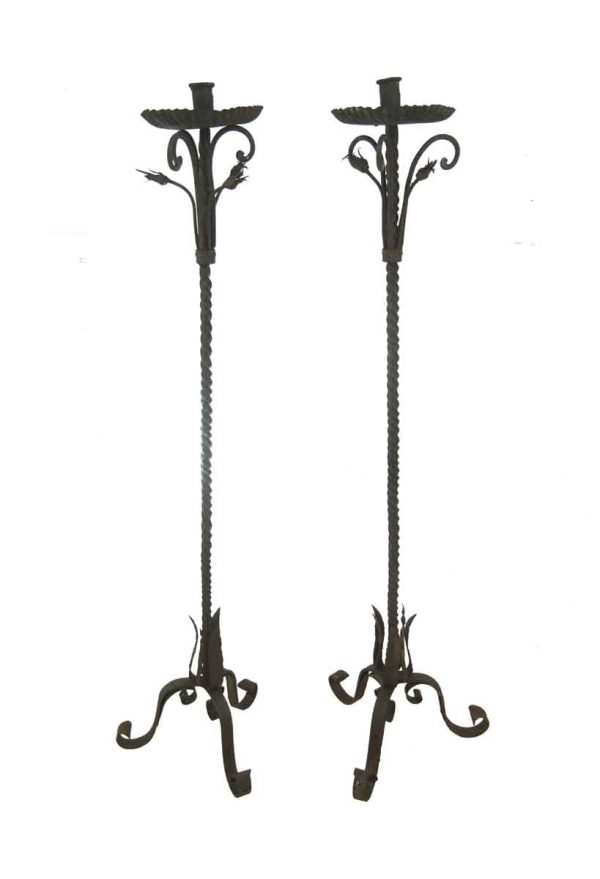 Candle Holders - Pair of Antique French 69 in. Black Wrought Iron Candle Stands