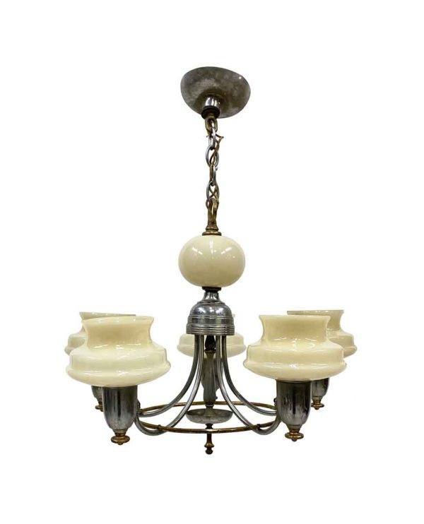 Chandeliers - 1930s 5 Arm Art Deco Chandelier with Cream Glass Slip Shades