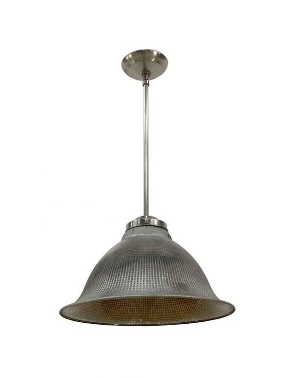 Down Lights - 1920s Industrial Silvered Waffle Glass Pendant Light