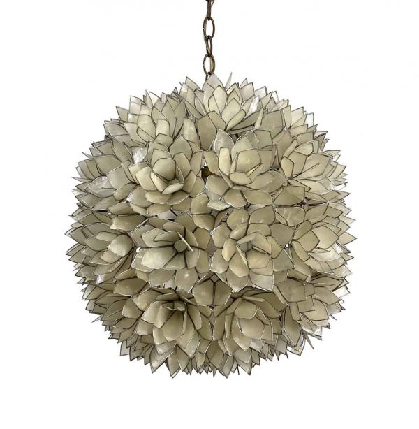 Down Lights - 1960s Mid Century Modern Capiz Shell Lotus Ball French Pendant Light