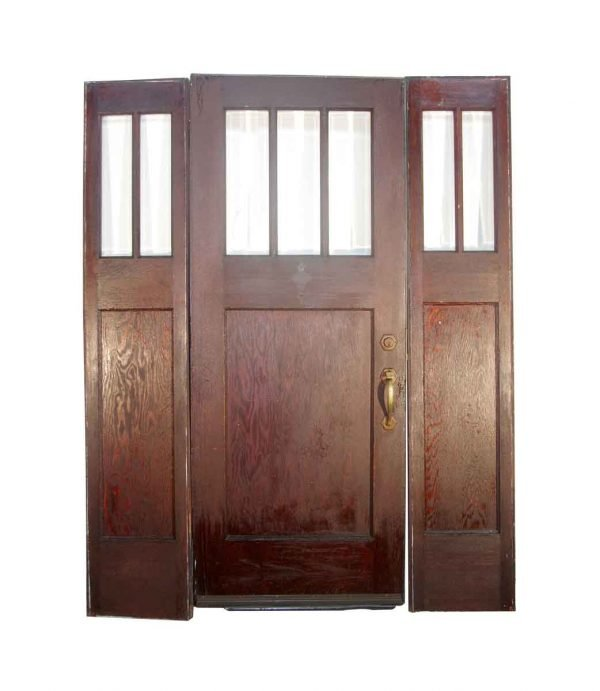 Entry Doors - Arts and Crafts 3 Lite American Chestnut Entry Door with Side Lites