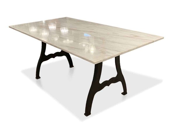 Floor Model Tables - 7 ft Marble Top Table with Cast Iron New York Industrial Legs