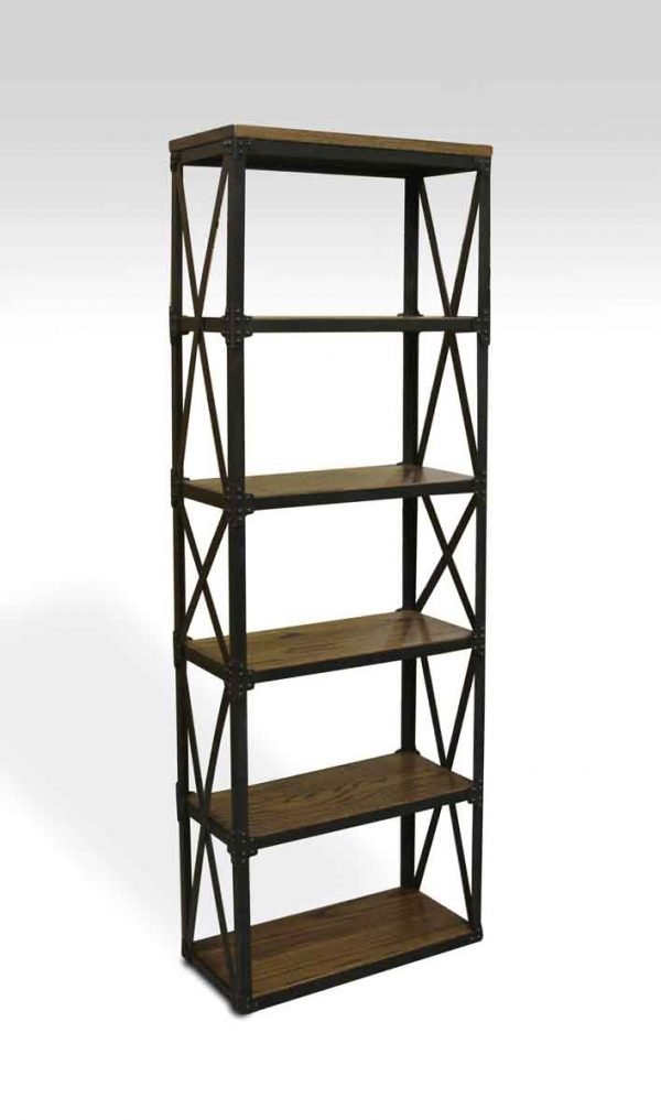 Floor Model Tables - Handcrafted Industrial Shelving Unit with Wooden Shelves