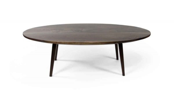 Floor Model Tables - Handmade Oval Walnut Coffee Table with Tapered Legs