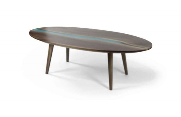 Floor Model Tables - Handmade Oval Walnut River Coffee Table with Tapered Legs