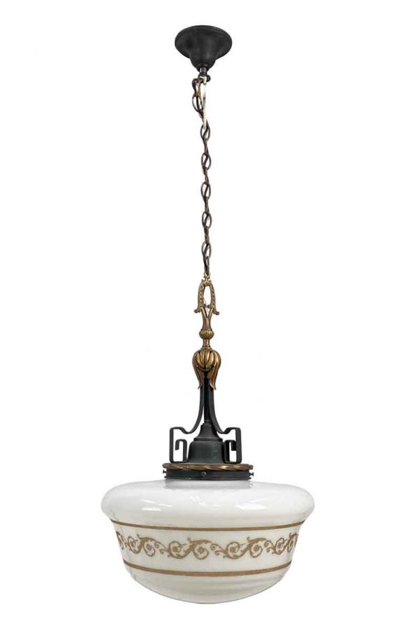 Globes - Gothic Wrought Iron Pendant Light with Etched Glass Globe