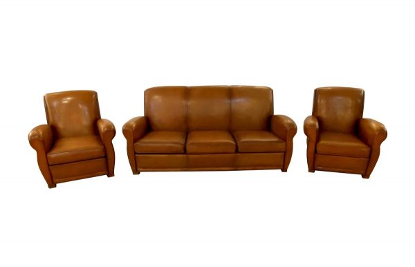 Living Room - Set of Vintage Brown Leather French Club Chairs & Couch