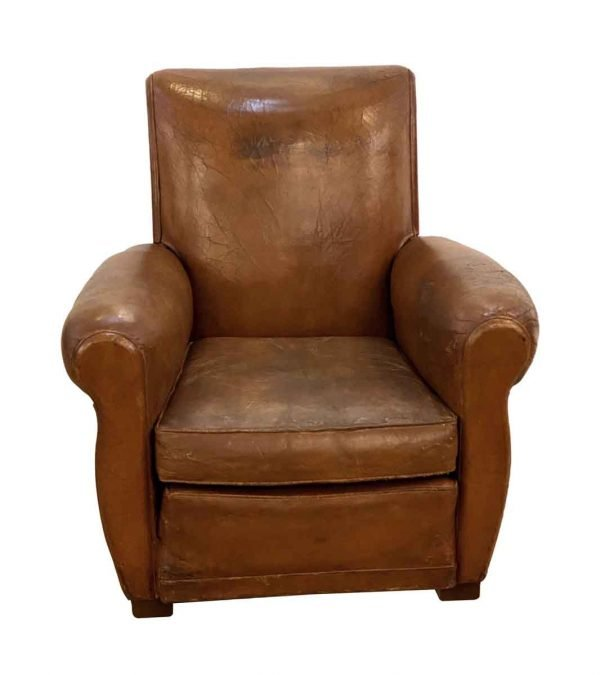 Living Room - Single Vintage French Brown Leather Club Chair