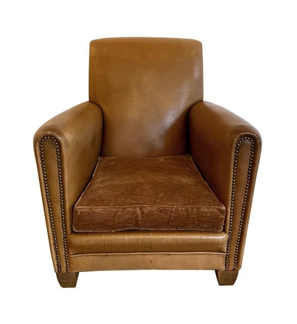 Living Room - Vintage Single French Brown Leather Club Chair