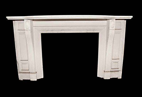 Mantels - Antique Traditional White Painted Wooden Mantel
