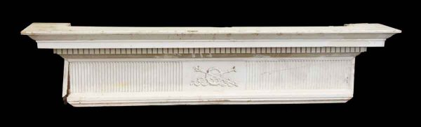 Mantels - Salvaged 7 ft White Wooden Carved Mantel Shelf