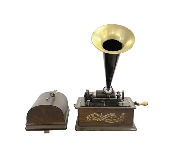 Musical Instruments - Antique 1892 Edison Phonograph with Five Cylinder Records
