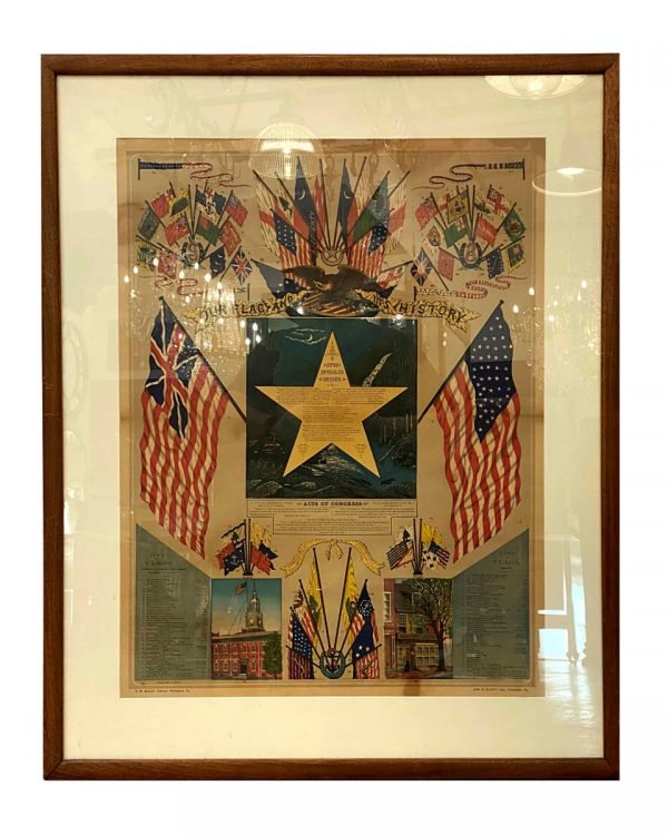 Posters - Original 1880s Framed Poster of The USA Flag