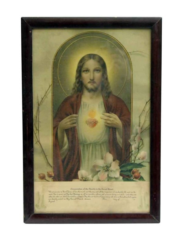 Prints  - 1940s Catholic Jesus Sacred Heart Framed Print 17.25 x 11.75