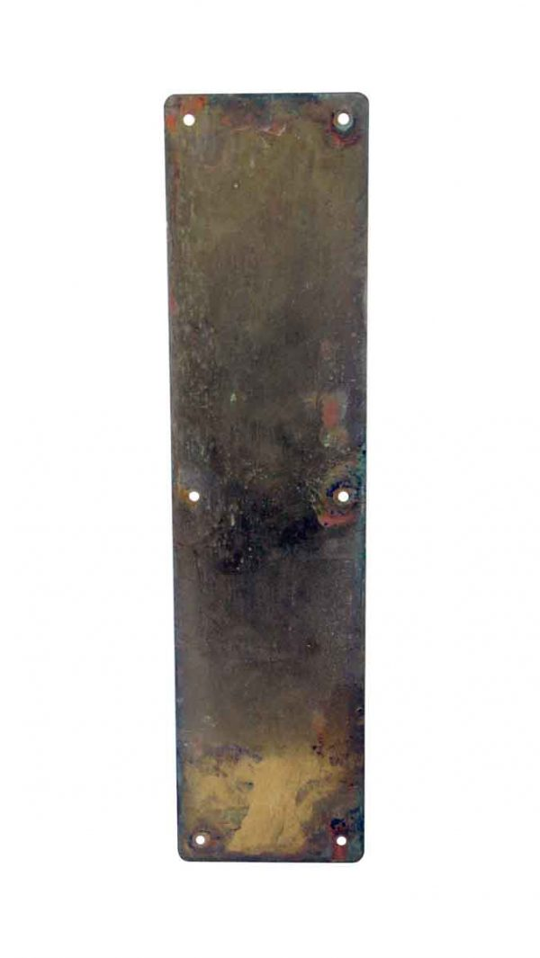 Push Plates - Antique 16 in. Plain Solid Brass Patina Door Push Plate