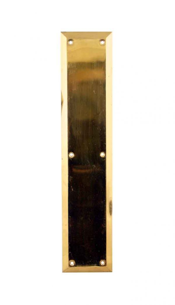 Push Plates - Vintage Modern Plain Polished Brass Beveled Door Push Plate