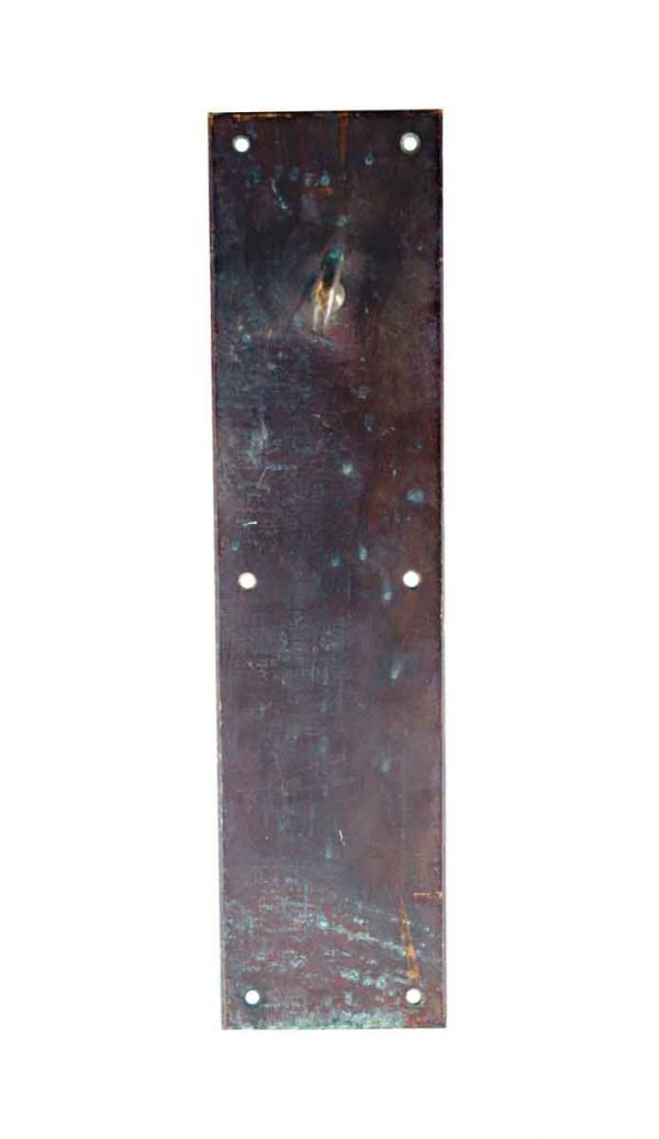 Push Plates - Vintage Patina Bronze 14 in. Door Push Plate with Latch